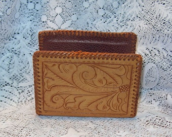 Vintage Leather Letter Holder Hand Tooled and Hand Made MINT
