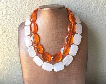 Orange & White Necklace, multi strand jewelry, big beaded chunky statement necklace, orange necklace, bridesmaid necklace, bib necklace