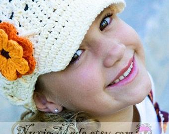 Girls Newsboy Cream Hat 12-24 Months , Crochet Hat, Kids Hat, Winter Hat, hat with flowers, childrens hat, tween crochet hat, girl hat