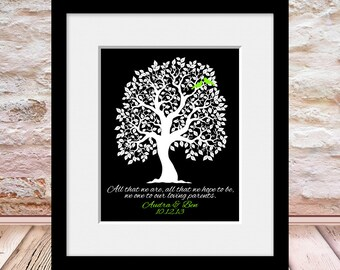 All That We Are, Parent Wedding Gift, Bride Parents, Grooms Parents, Thank You Wedding Gift, Wedding Tree Print