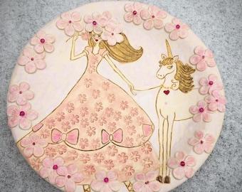 Handmade pink unicorn platter with pearls mystic platter pottery ceramics clay & Unicorn tableware | Etsy