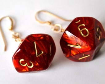 Dice Earrings - D10 Ten Sided Dice Jewelry -  Red and Gold - Geeky Jewelry