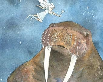 Walrus Holiday Card Giclée Print