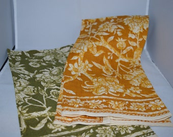 Vintage linens / kitchen towels / Fallini & Cohn / gold or green / gold / green / gold linens / green linens / towls / kitchen / hand towels