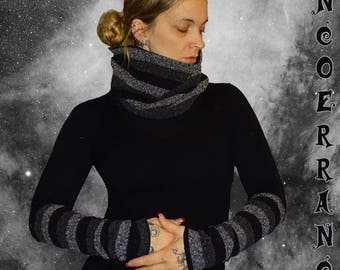 Set of Snood and sleeves 'Black and grey stripes...'