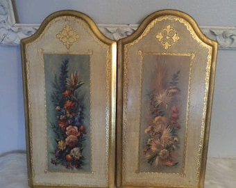2 Vintage Florentine Plaques ~ Gold Gilt Flowers and Butterflies ~ Vintage Floral Wall Hanging ~ Made in Italy