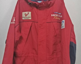 Vtg RARE!!!90's HONDA RACING F1 Zipper Jacket Spell Out Logo Large Size With Nice Used Condition!
