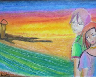 Crayon painting Waiting for the girl