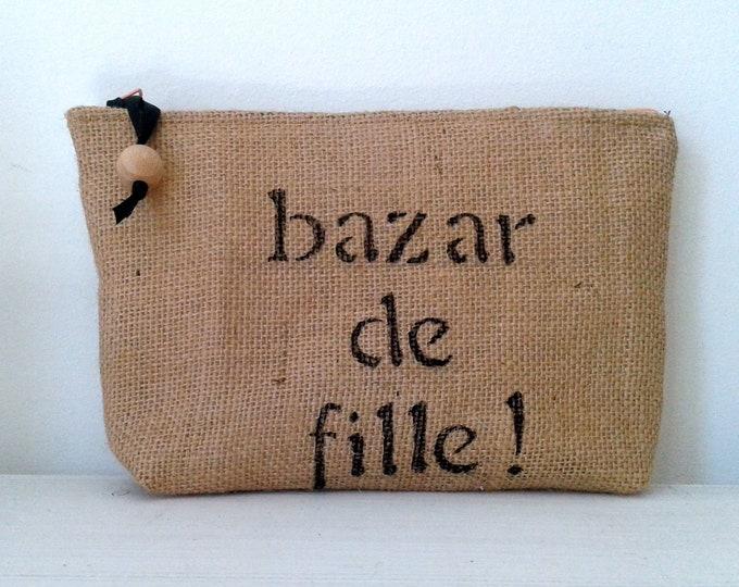 Kit, makeup case, Burlap, gift, fabric, canvas, romantic, burlap canvas, girl travel pouch
