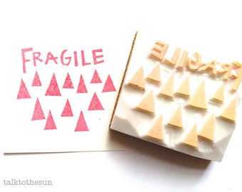fragile rubber stamp | snail mail stamp | packaging shipping mailing | airmail stamp | breakable sign | diy | hand carved by talktothesun