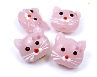 4 Lampwork Handmade Glass Pink Cat Head Beads  (L1095)