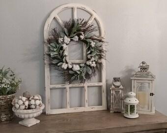 Window wreath etsy farmhouse wall decordistress window panegrapevine wreathwall decorhousewarming gift ppazfo