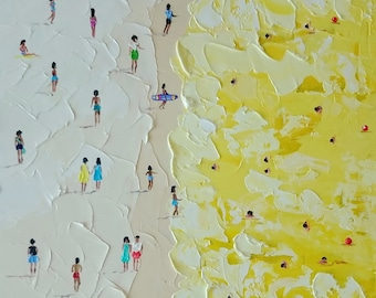 Yellow sea; Original palette knife oil painting; beach scene painting; beach oil painting