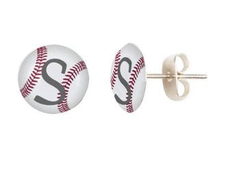 Baseball Earrings, Baseball Jewelry, School Team, Baseball Gift, Gift For Baseball Player, Monogram Baseball Earrings, Initial