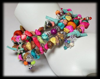 Rainbow Chip... Handmade Jewelry Bracelet Beaded Gemstone Crystal Leather Mixed Media Memory Wire Southwest Silver Turquoise Pink Orange