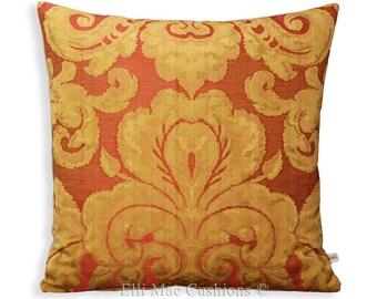"Zoffany ""Brocatello""  Red Gold Designer Fabric 18"" x 18"" Sofa Cushion Pillow Cover"