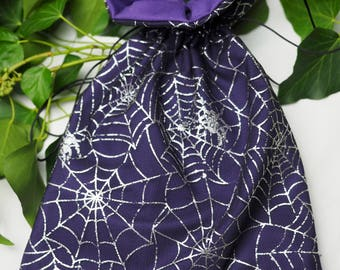 Gorgeous Spider Web Tarot Card, Rune, Ogham or Crystal Bag - Pagan, Wicca, Witchcraft - Lined