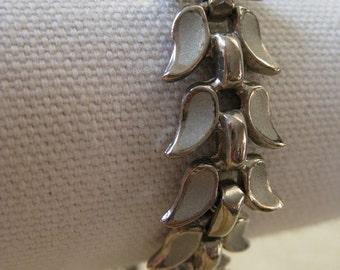 Silver Bracelet Leaves Vintage