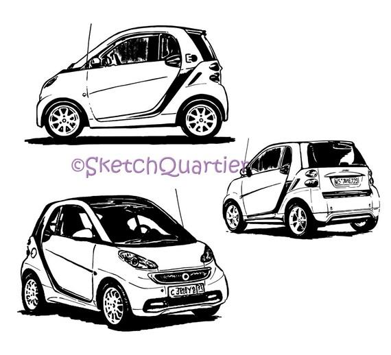 Smart Auto Mercedes Hand gemalt Skizze Vektor Clipart SVG