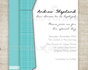 BAPTISM INVITATION LDS Tie Boy Baptism Invitation Picture Latter-Day Saint Mormon Digital diy Printable Personalized - 156473721