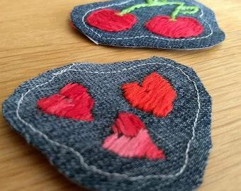 Embroidered Cherries/Heart Denim Patch