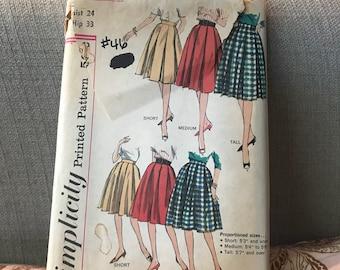 Vintage 60s Simplicity 4055 Skirt Pattern-Size 24 Waist