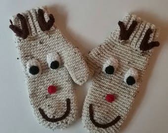 Handmade Mittens, Reindeer, Rudolph, cute, warm and cozy mittens
