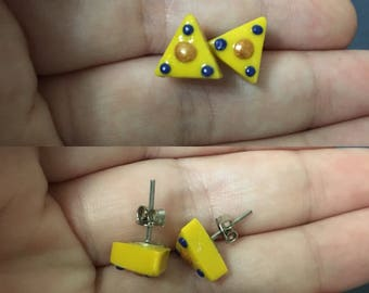 Patterned Triangle Stud Earrings