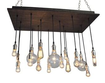 16 Bare Bulb Pendant Rustic Chandelier - Industrial Lighting, Dining Room Chandelier
