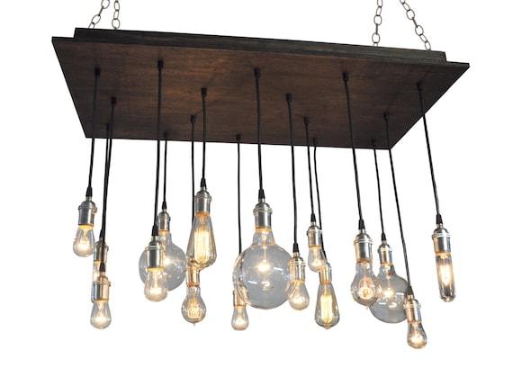 16 Bare Bulb Pendant Rustic Chandelier Industrial Lighting