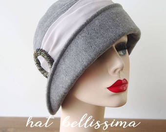 SALE gray 1920's Hat Vintage Style hat winter Hats hatbellissima ladies hats millinery hats cloche Hats wool hats