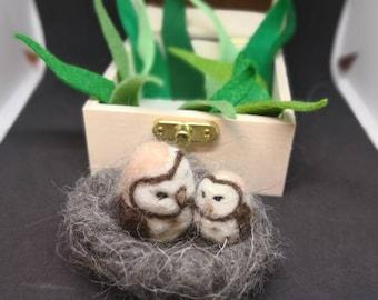 Needle felted owl mum and baby
