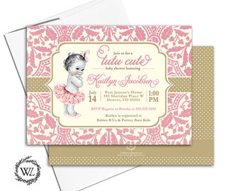 Tutu cute baby shower invitation for girls tutu baby shower invite, pink and gold lace polka dots, vintage, printable or printed - WLP00794