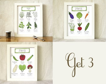 Herbs & Summer Vegetables Art French Rustic Kitchen Set of 3 art prints 8x10 French Bilingual Gift for a Foodie Vegetarian Farmers Market