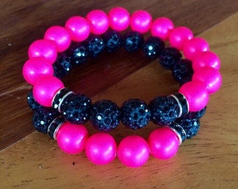 Neon pink Swarovski pearls and black polymer clay pave disco beads stretch yoga bracelet set