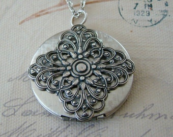 Large Silver Filigree Locket Valentines Day Necklace Wedding Jewelry Bride Birthday Wife Mother Daughter Sister Photo Pictures - Francine