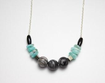Silver and gems, black agate, amazonite, pyrite and picasso Jasper stones