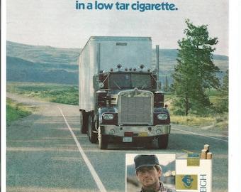 1981 Raleigh Light Cigarettes Advertisement 80s Trucker Truck Driver Blue Semi Tractor Trailer Long Haul Smoking Tobacciana  Wall Art Decor