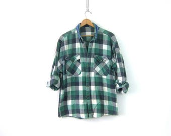 Green Plaid Shirt Cotton Flannel Lumberjack Button Up Pocket Oxford Vintage Denim Collar Rugged Boyfriend Shirt Men's Size Large
