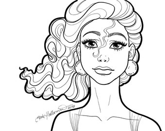 A bit of glam | PORTRAIT illustration of a woman - downloadable printable coloring page for adults Line Art by Kate Holloman