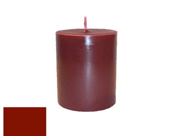 3 x 3.5 Dark Red Classic Hand-poured Unscented Pillar Candles Solid Color
