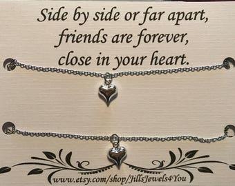 Best Friend, Long Distance Heart Necklace,  Long Distance Friendship, Friendship Necklace, Best Friend Necklace, Double Best Friend Necklace