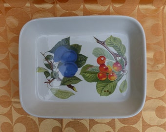 """Portmeirion Pomona Lasagne Dish - L'Imperatrice Plum with Black Accents & Biggaraux Cherry. Large 12"""" x 10"""" VGC Collectable"""
