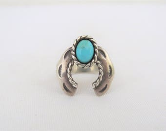 Vintage Southwestern Sterling Silver Turquoise Ring Size 8