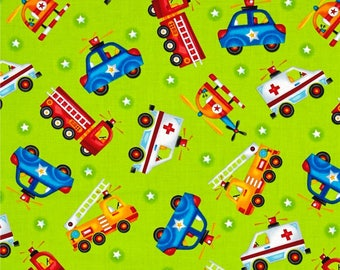 Be My Hero Tossed Rescue Vehicles green fabric
