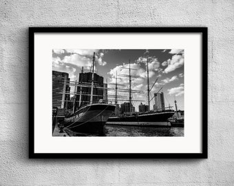 South Street Seaport - New York Photography, Black and White, Cityscape, Wall Art, NYC, Fine Art Print, Urban Art, Home Decor