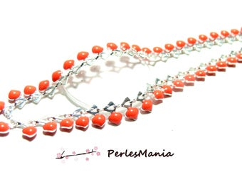 20 cm mini heart enameled metal chain silver and enamel coral FLASHY, DIY