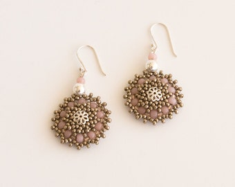 Sterling Silver Doily Hook Earrings. Round Beaded Dark Silver, Antique Rose and Metal Accent Beads. Wedding Bridal Dangling Earrings S152