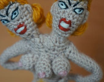 Conjoined Twins Crocheted Finger Puppet