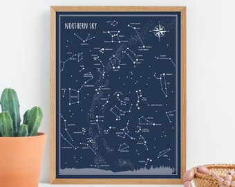 Northern Sky - print, Little Astronomer Set, travel gift, back to school, map of the  sky, constellation print